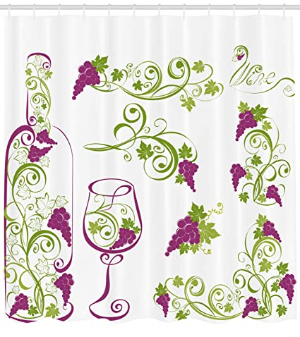 Ambesonne Wine Shower Curtain Bottle And Glass Grapevines Lettering With Swirled Branches Lines
