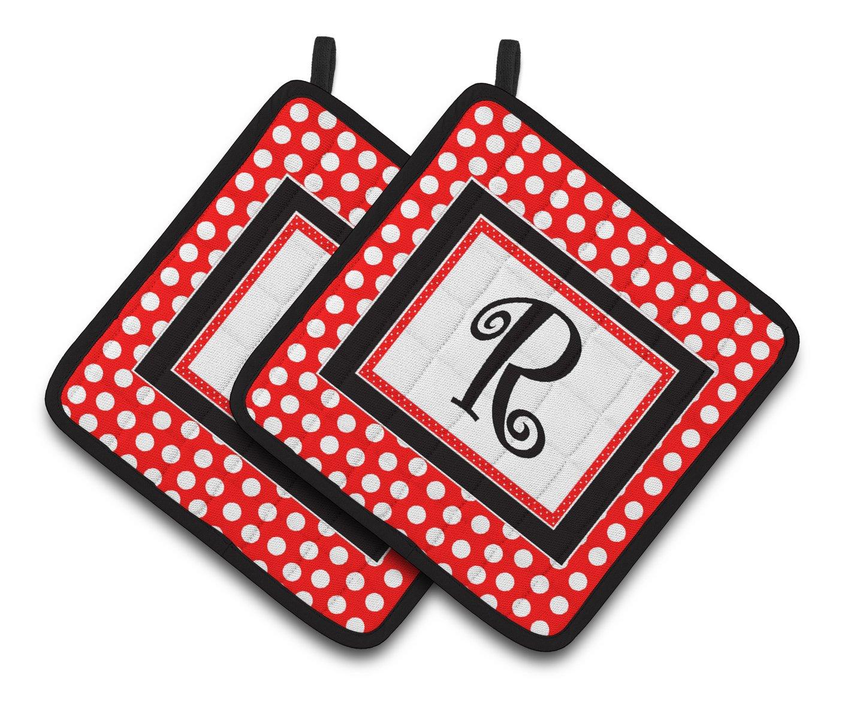 Multicolor Carolines Treasures Letter R Initial Monogram Red black Polka Dots Pair of Pot Holders CJ1012-RPTHD 7.5HX7.5W