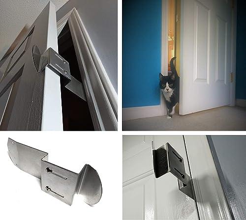 TheDoorLatch Adjustable Door Latch. Keeps Dogs Out of Litter. Holds Door Open for Cats. Super Easy Installation. Cat Door Strap. Dog Proof Litter Box.