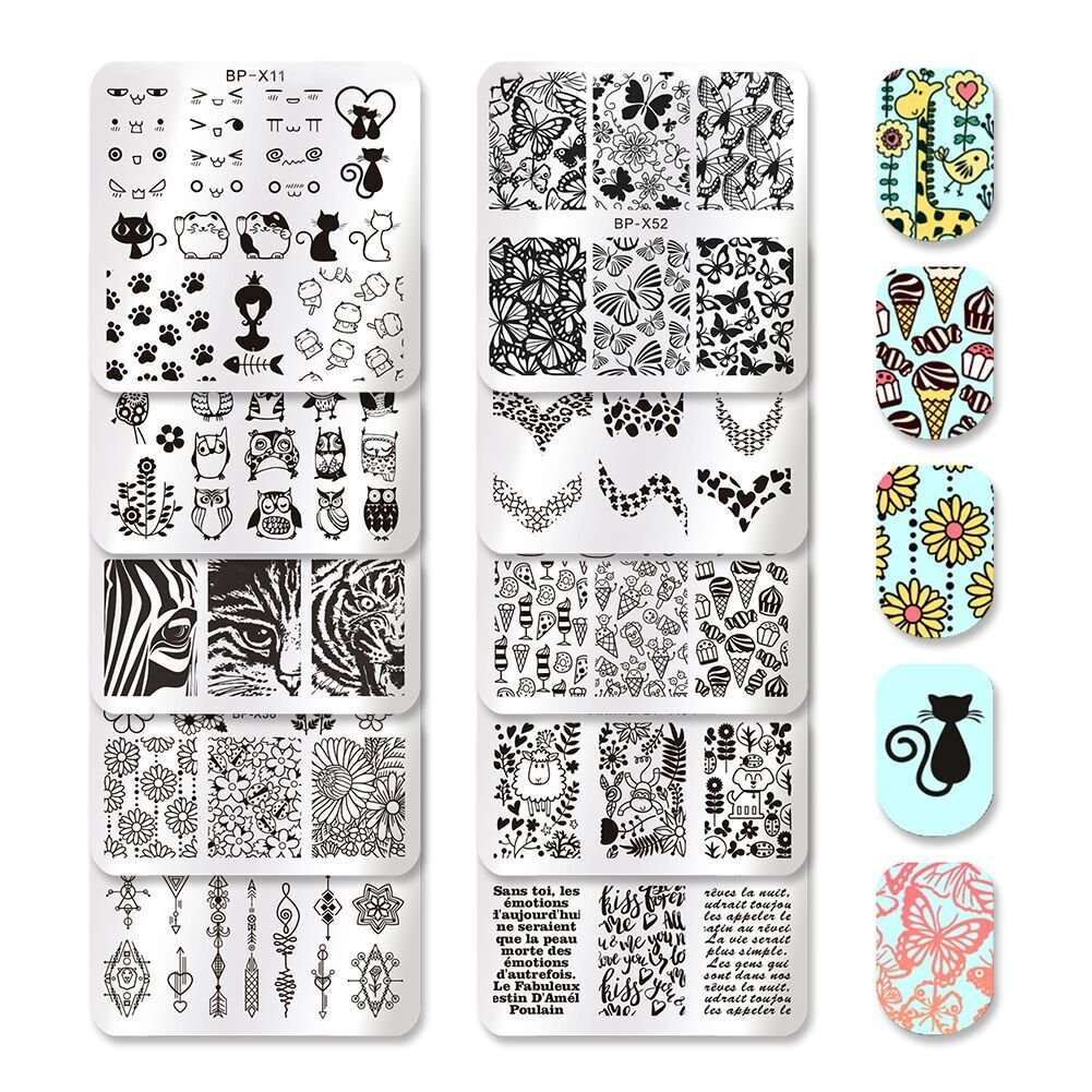 Born Pretty 10Pcs Nail Art Stamping Plates Set Animal Flower Leopard Dessert Manicure Image Plates Print Tool Set