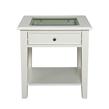 Southern Enterprises Panorama End Table, Off White Finish