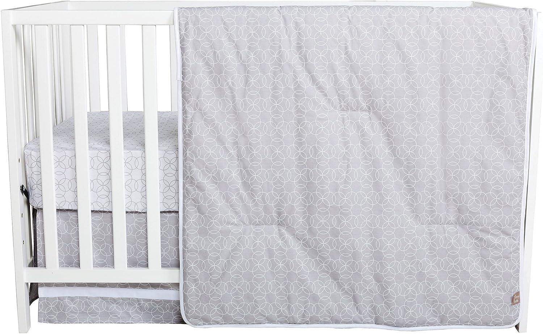 Trend Lab 3 Piece Crib Bedding Set Gray and White Circles