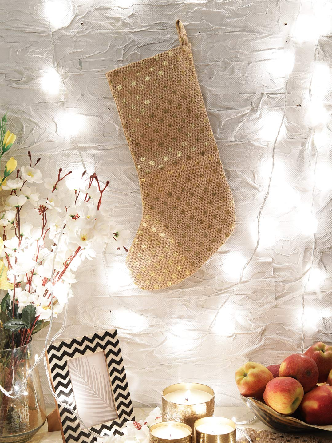 Christmas Jute Stocking Natural Jute Christmas Stocking Fireplace Hanging for Gifts Goodies Handmade Projects