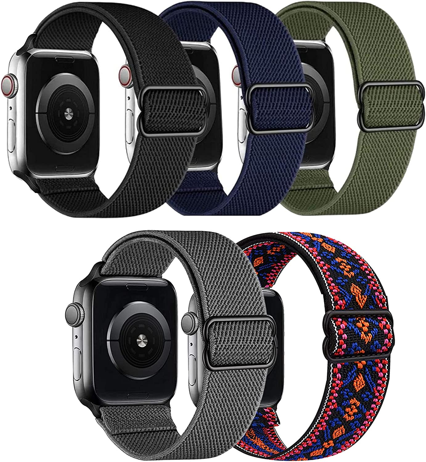 5 Pack Stretchy Nylon Solo Loop Bands Compatible with Apple Watch 44mm 42mm, Adjustable Stretch Braided Sport Elastics Women Men Strap Wristband Compatible with iWatch Series SE 6 5 4 3 2 1