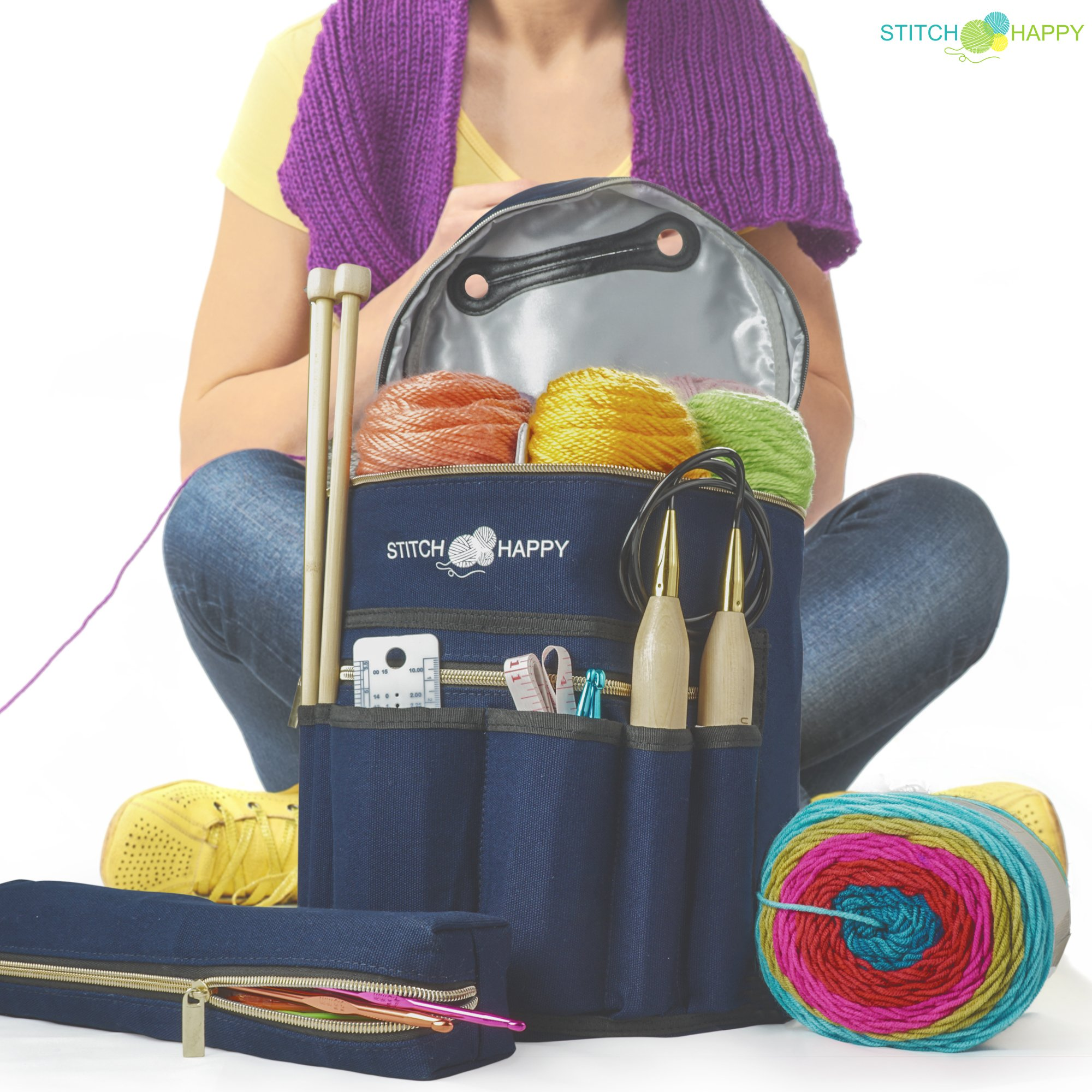 Knitting Bag - Yarn Tote Organizer w/Tool Case, 7 Pockets + Divider for Extra Storage of Projects, Supplies & Crochet (Navy) by Stitch Happy by Stitch Happy (Image #9)
