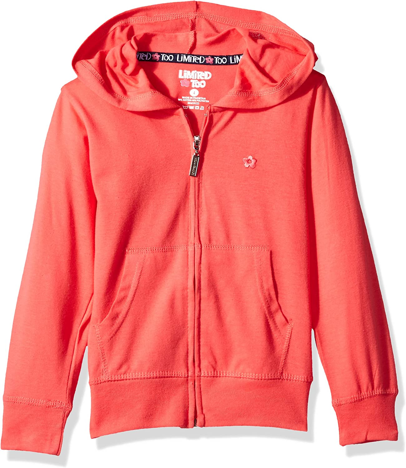 Limited Too Girls Long Sleeve Zip Front Jersey Hoodie