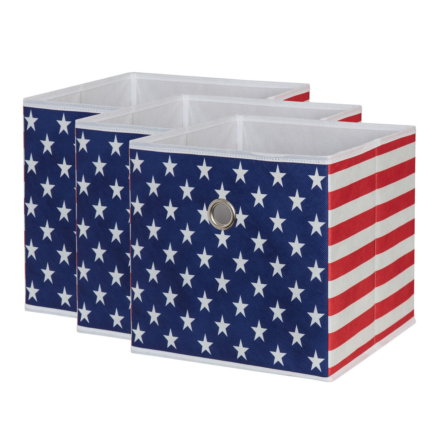Amazon com sbs collapsible foldable fabric storage boxes cubes bins baskets american flag pattern 3 pack each storage bin measures 11 inches on all