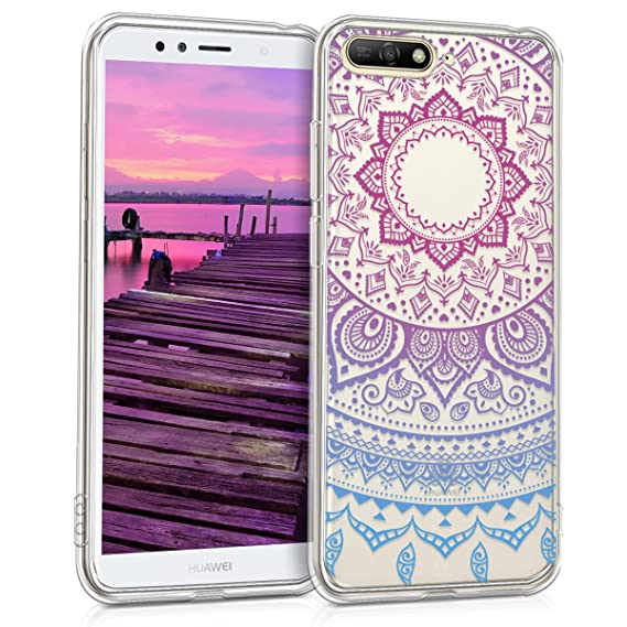 kwmobile TPU Silicone Case Compatible with Huawei Y6 (2018) - Crystal Clear Smartphone Back Case Cover - Blue/Dark Pink/Transparent