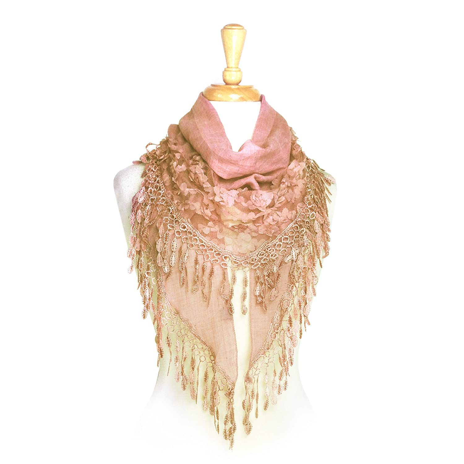 e0924d1f24f Paskmlna® Women s Lightweight Fancy Triangle Lace Scarf with Floral