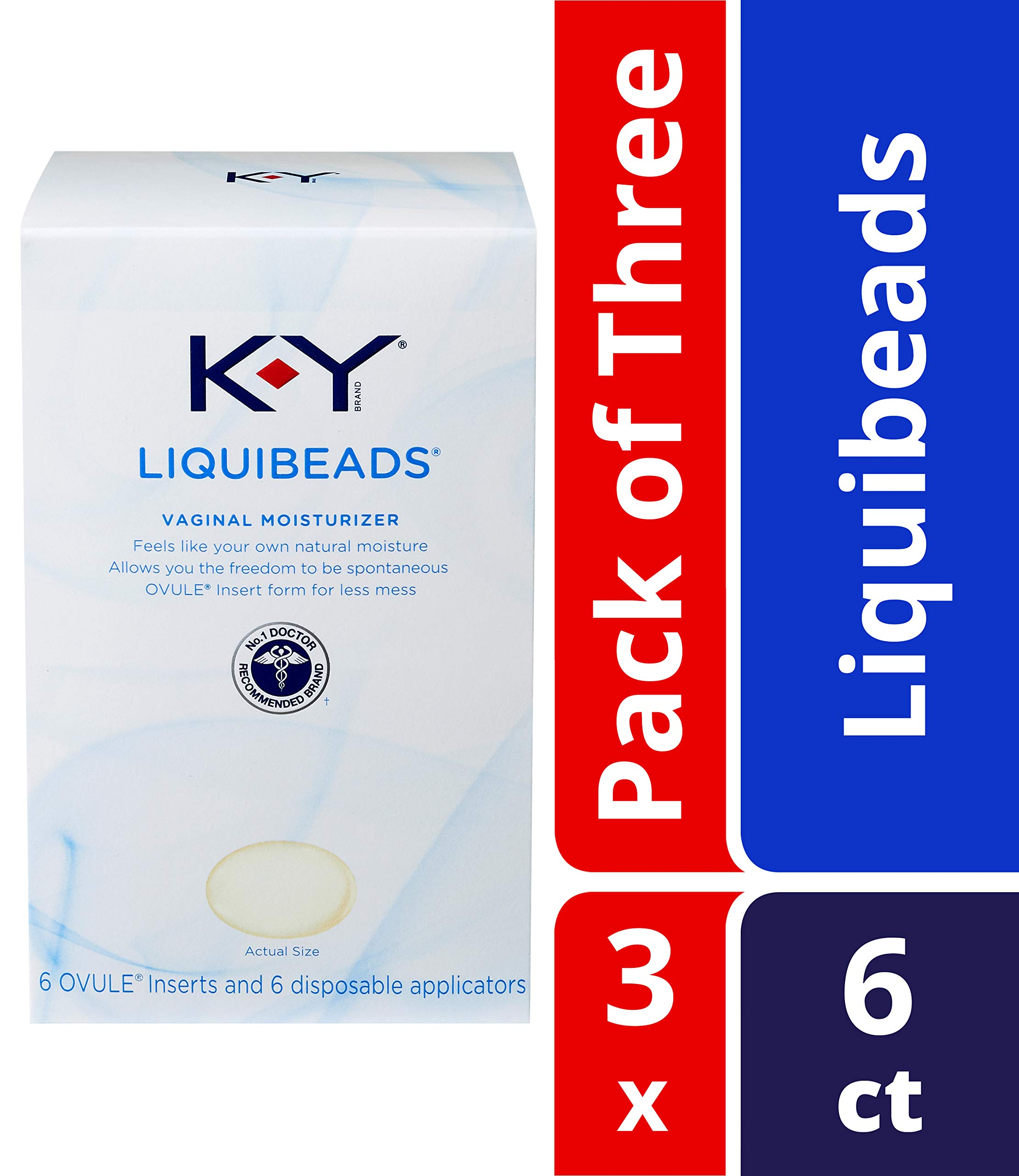 K-Y Liquibeads Vaginal Moisturizer- Bead Inserts With Applicators To Restore Natural Moisture, 6 Count (Pack of 3) by K-Y