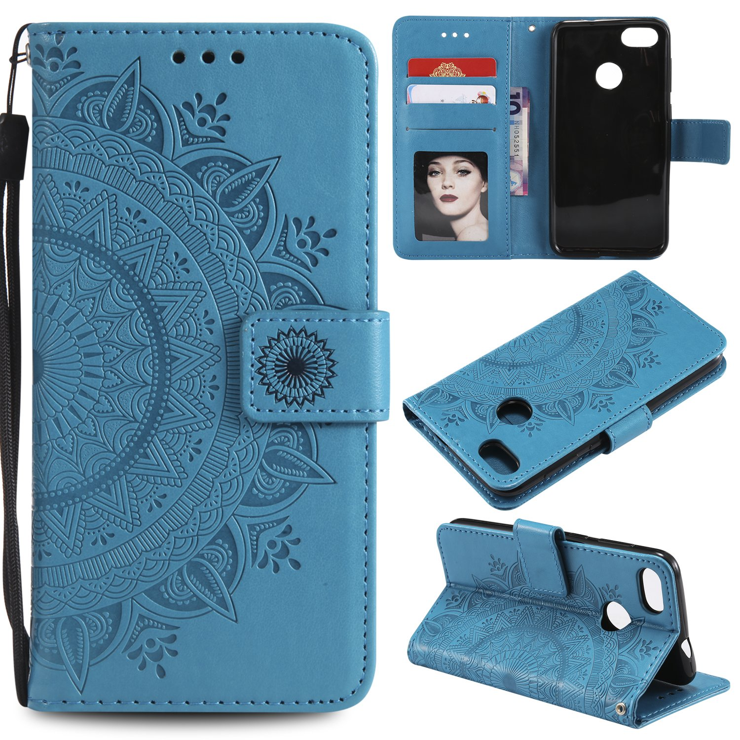 Floral Wallet Case for Huawei P9 Lite Mini,Strap Flip Case for Huawei P9 Lite Mini,Leecase Embossed Totem Flower Design Pu Leather Bookstyle Stand Flip Case for Huawei P9 Lite Mini-Blue