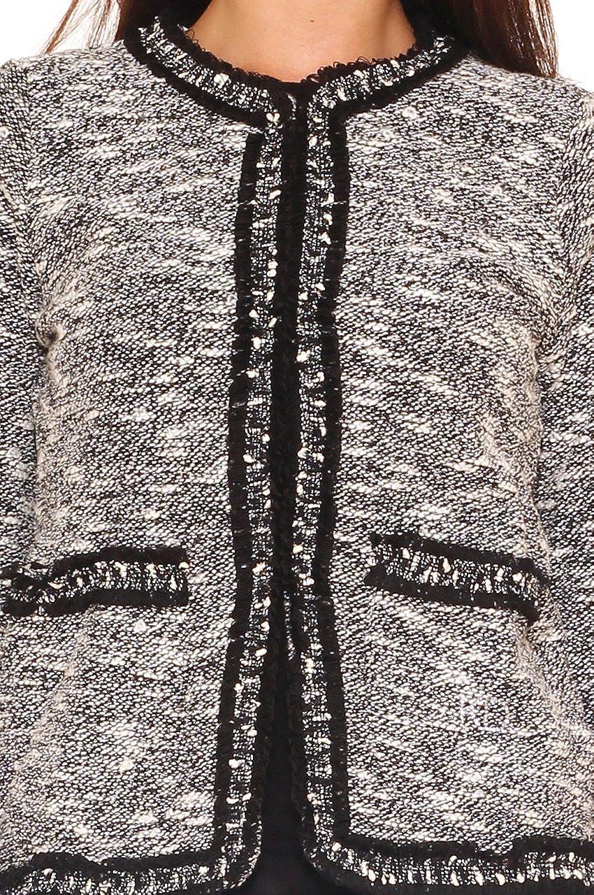 Key Di Giacca donna in tessuto bouclè girocollo: Amazon.it
