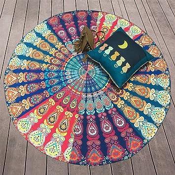 Joybuy colorido pavo real impreso toalla de playa (Cover Up redondo Circular de tamaño grande toalla de baño sol bloque chal Yoga Mat: Amazon.es: Deportes y ...