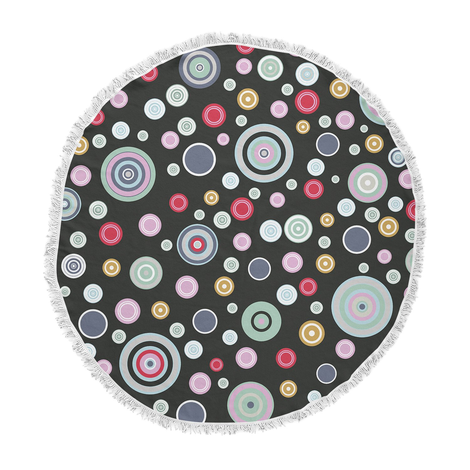 Kess InHouse Suzanne Carter Circle II Black Multicolor Round Beach Towel Blanket