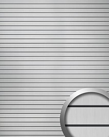 Panel de pared adhesivo WallFace 18585 RIGATO aspecto metal cepillado resistente a la abrasión bandas transversales