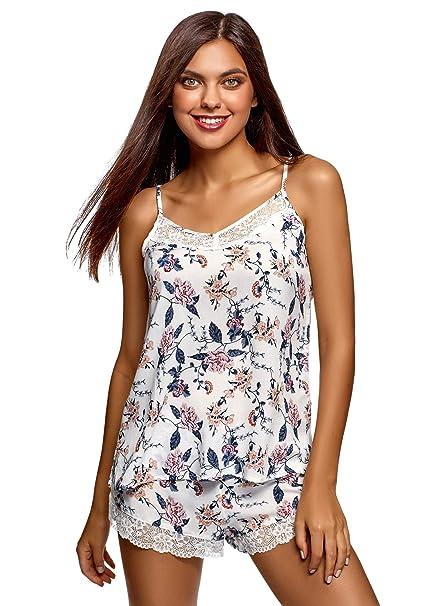 4734aa7764 oodji Collection Donna Pigiama in Viscosa con Finitura in Pizzo: Amazon.it:  Abbigliamento