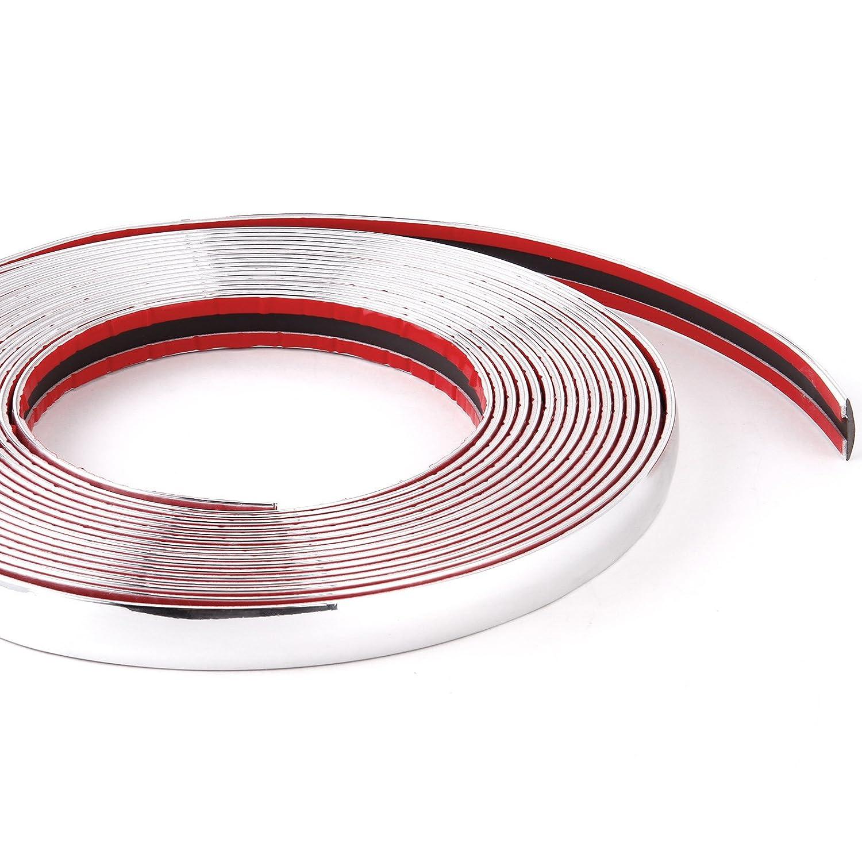 Cromo con moldura 16/mm x 8/m Universal Auto cromo tira contornos flexible