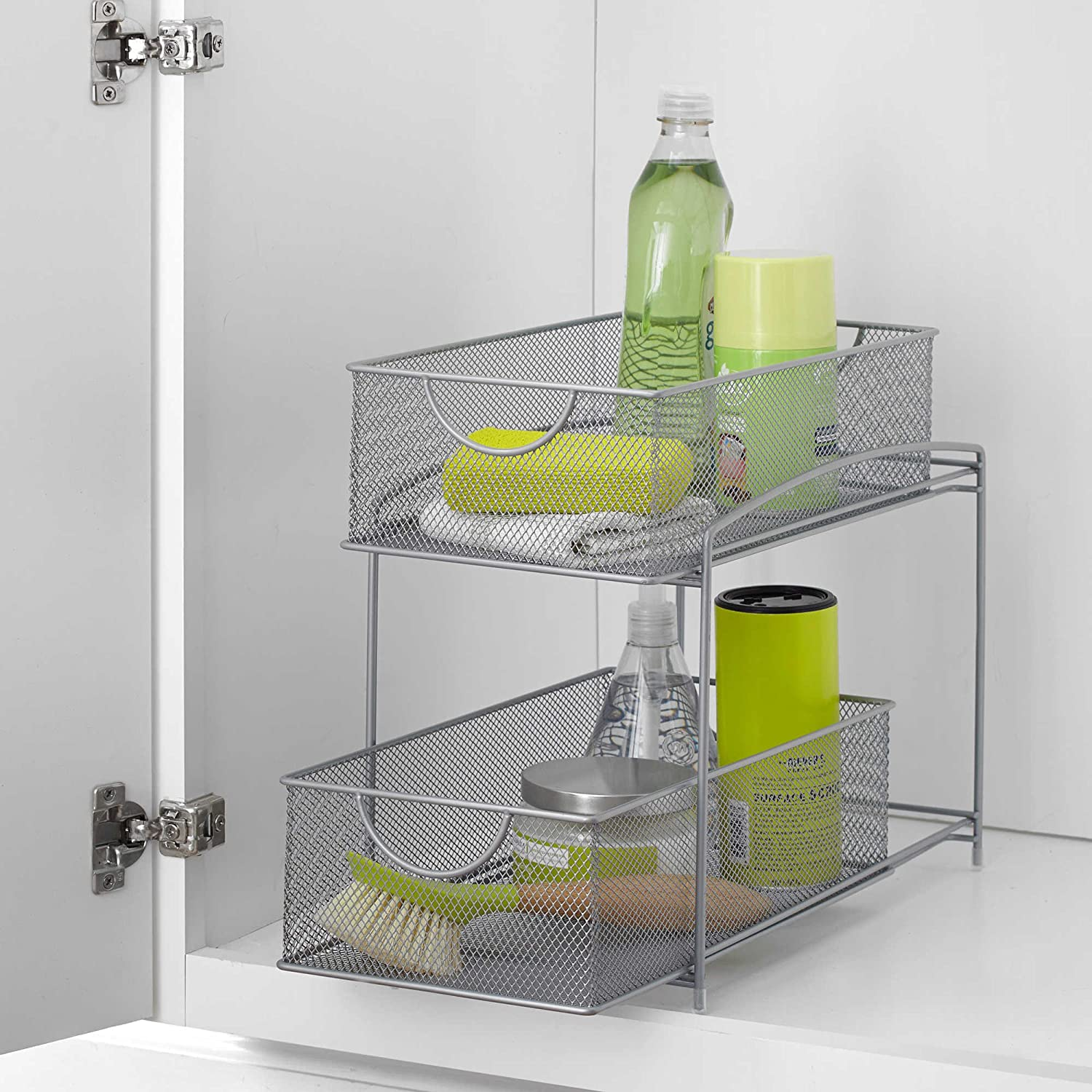 Ordinaire ORG 2 Tier Mesh Double Sliding Cabinet Basket In Silver