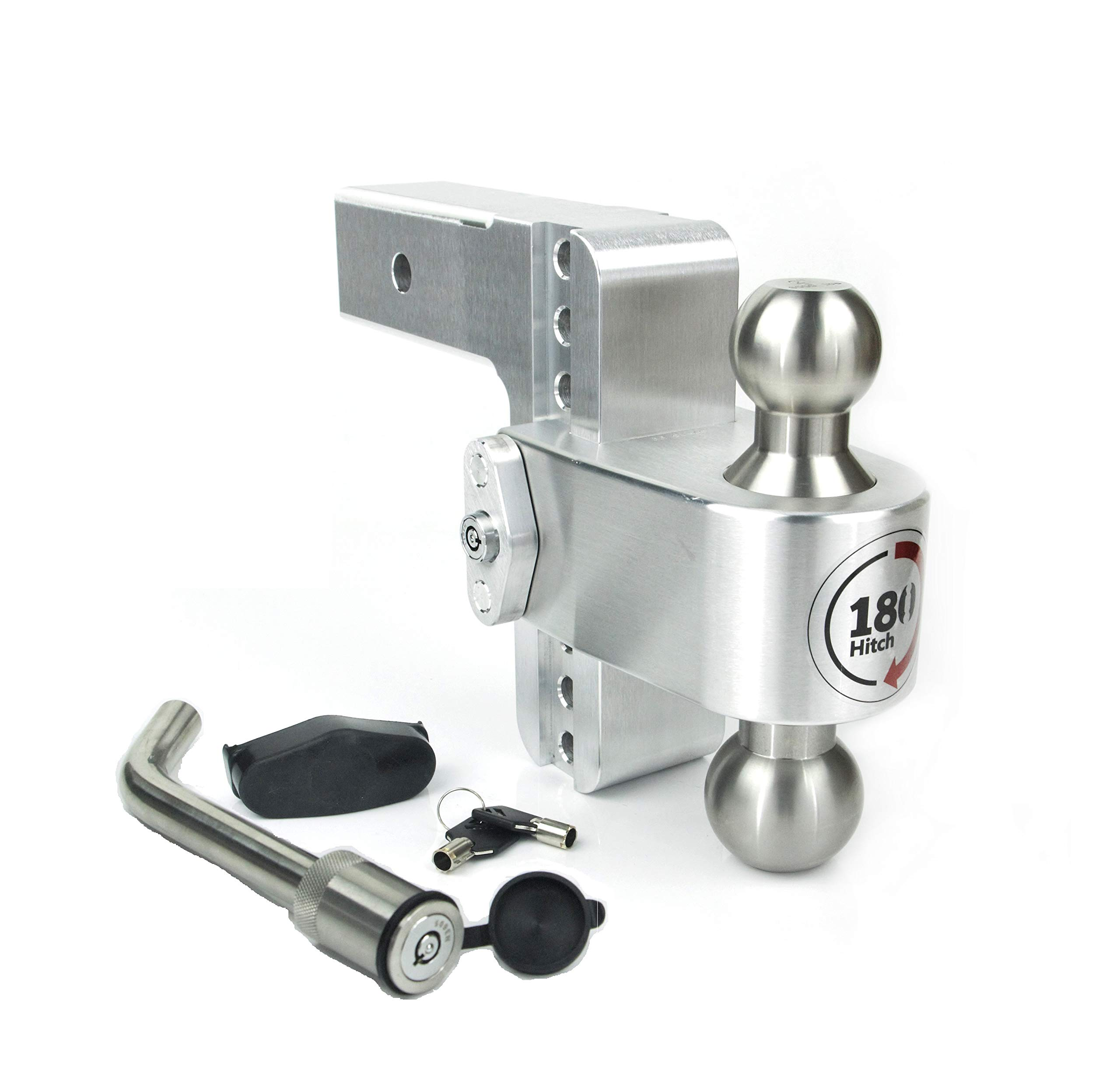 Weigh Safe LTB6-2.5-KA, 6'' Drop 180 Hitch w/ 2.5'' Shank/Shaft Adjustable Aluminum Trailer Hitch & Ball Mount, Stainless Steel Combo Ball (2'' & 2-5/16''), Keyed Alike Key Lock Hitch Pin by Weigh Safe