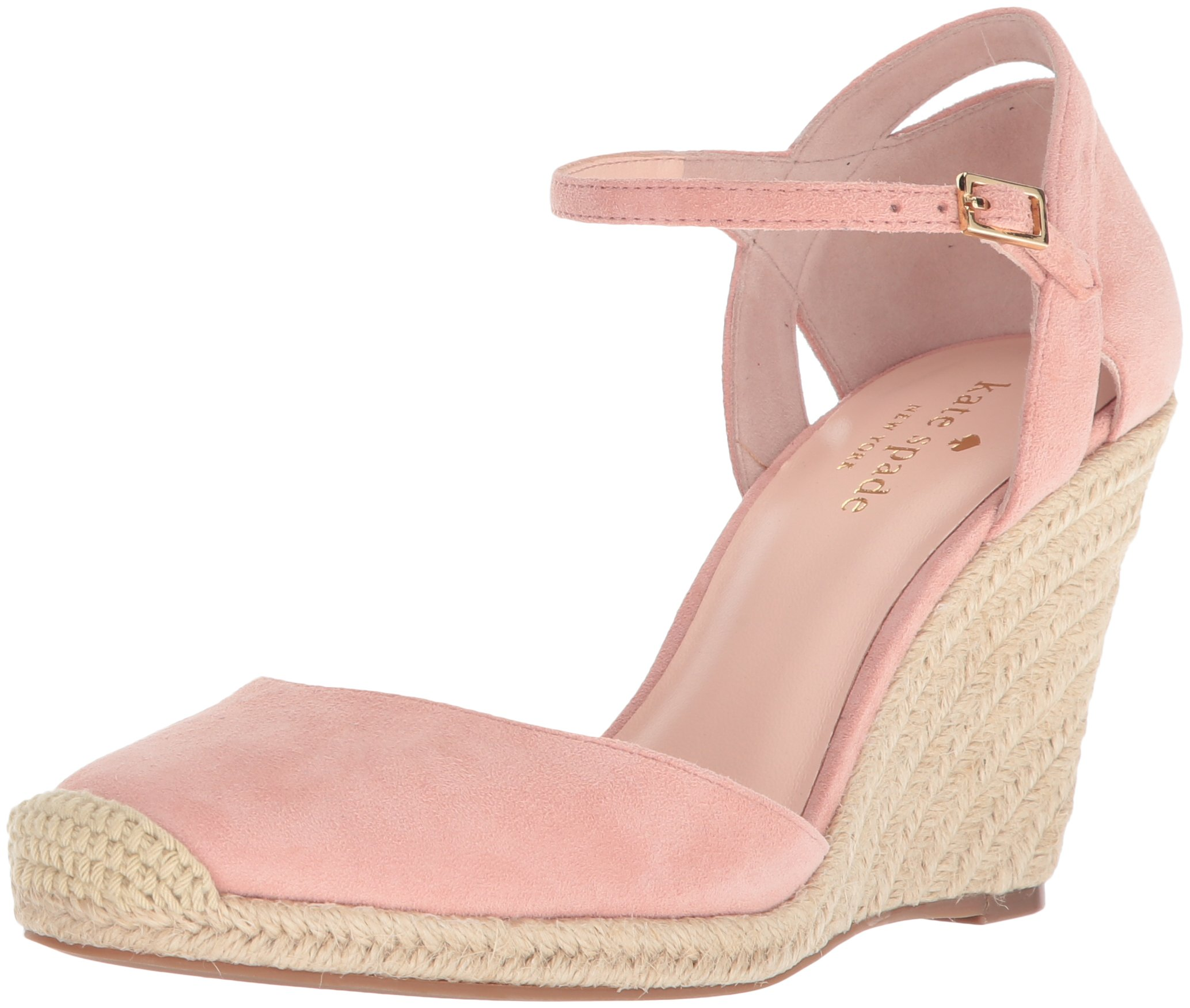 Kate Spade New York Women's Giovanna Espadrille Wedge Sandal, Pink Majolica Kid Suede, 7.5 Medium US