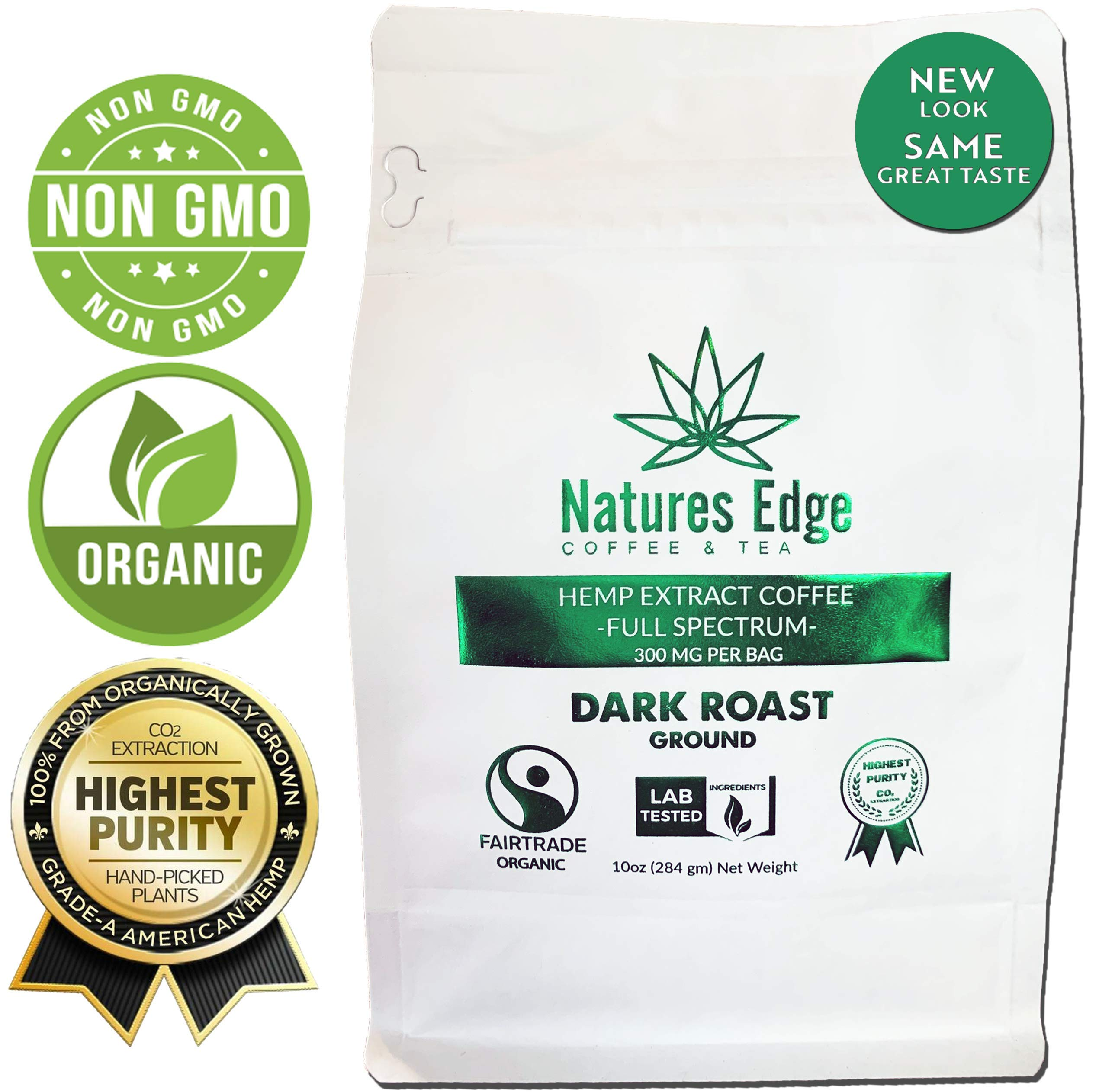 Natures Edge Organic Hemp Coffee, Dark Roast - Ground 10 oz Bag (300 MG)