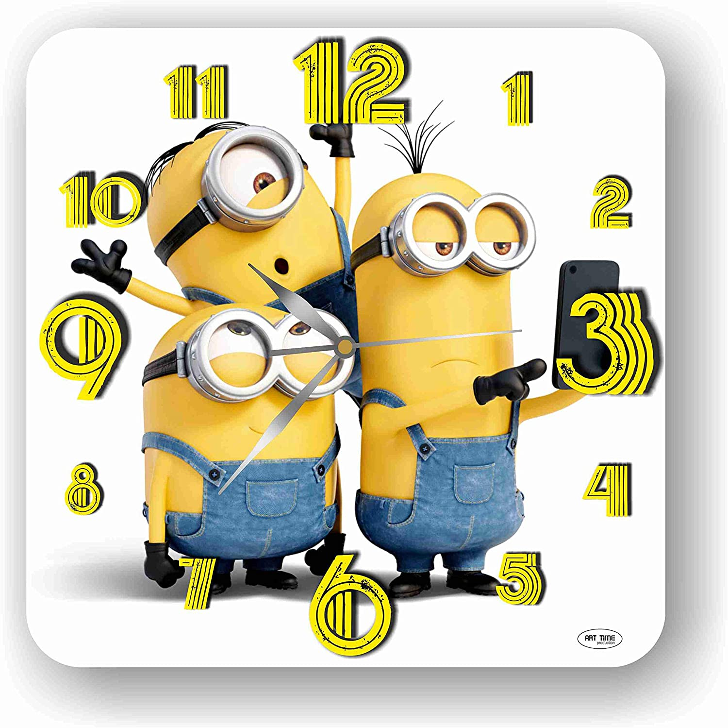 Art time production Minions 11'' Handmade Wall Clock - Get Unique décor for Home or Office – Best Gift Ideas for Kids, Friends, Parents and Your Soul Mates