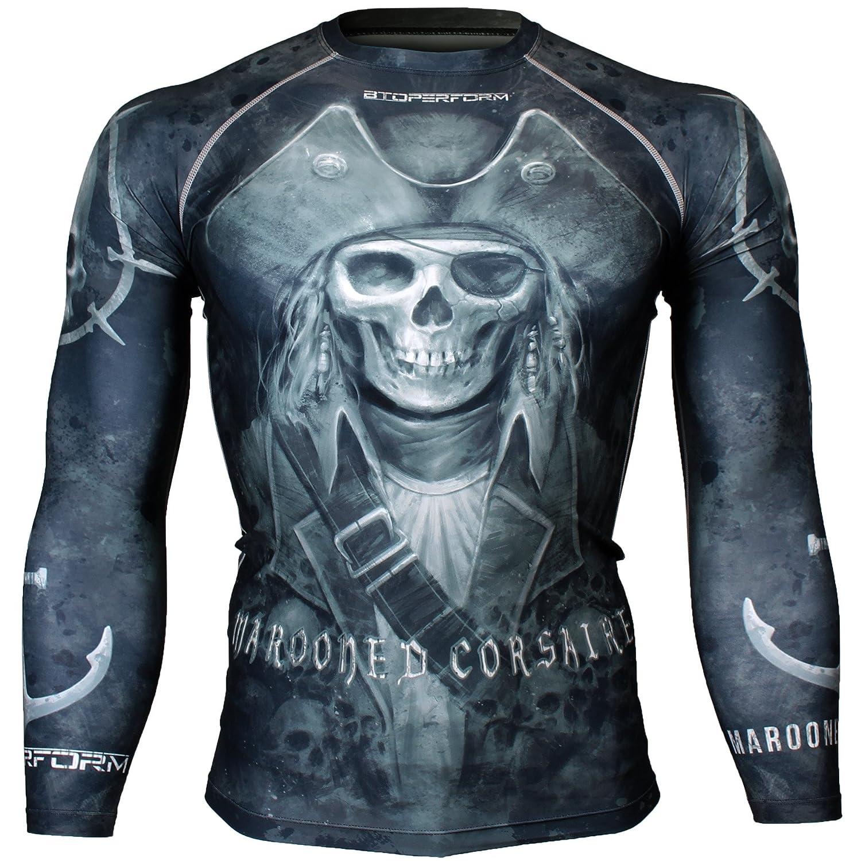 FX-112K Btoperform Compression Rash Guard Full Graphic Base Layer Shirts Marooned CORSAIRE Black