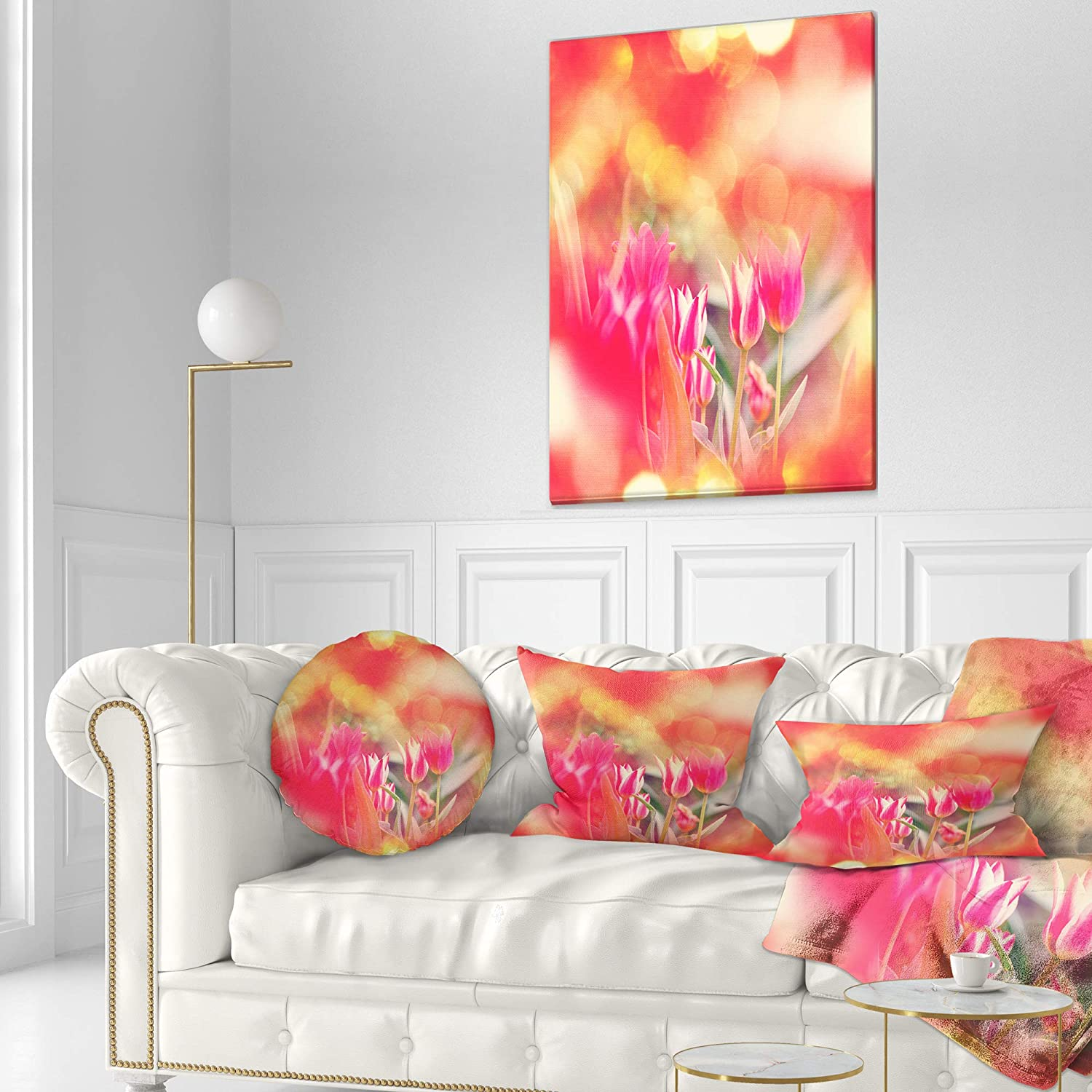 Sofa Throw Pillow 12 in x 20 in in Designart CU12467-12-20 Tulips on Abstract Red Background Floral Lumbar Cushion Cover for Living Room