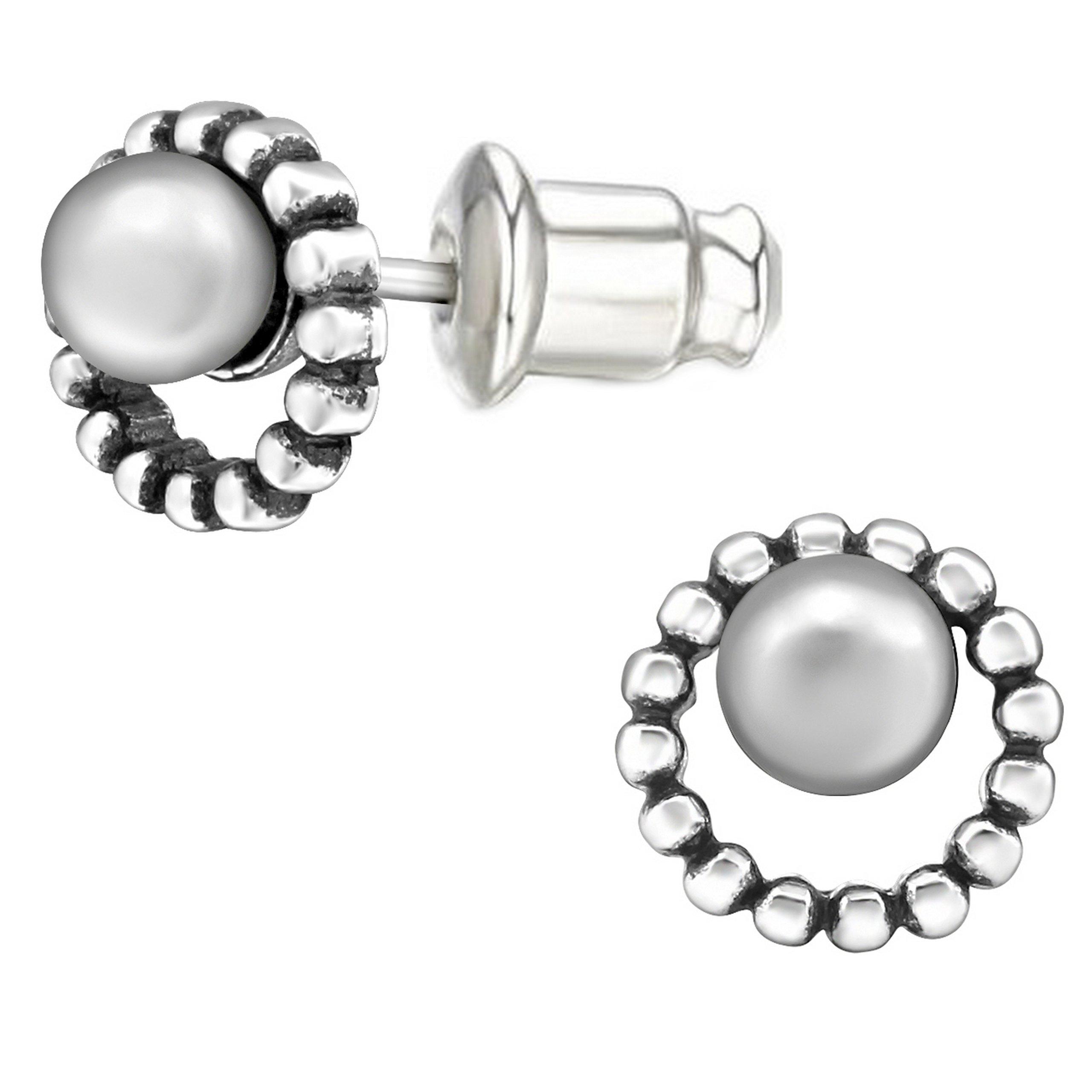 Pro Jewelry .925 Sterling Silver ''Round w/ Glass Pearl'' Stud Earrings with Bullet Clutch Earring Backs