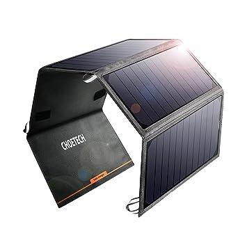 CHOETECH Cargador Solar Portatil, 24W Panel Solar Cargador Placa Solar Impermeable Solar Power Bank 2 USB Puertos para Teléfonos Samsung, iPhone, ...