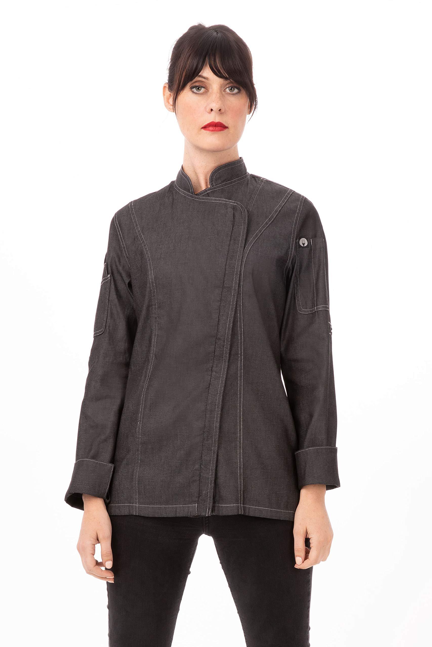 Chef Works Women's Gramercy Denim Chef Coat, Black, X-Large by Chef Works