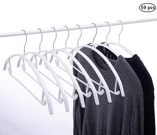 Cocomaya 43 cm Color blanco Sin golpes Percha de metal con revestimiento de goma antideslizante, Percha para suéter, Percha para traje con barra para ...