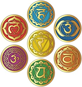 """Seven Chakra Wall Stickers - (Set of 7) 6"""" Large Round Vinyl Decals for Yoga Meditation Room Art Decor"""