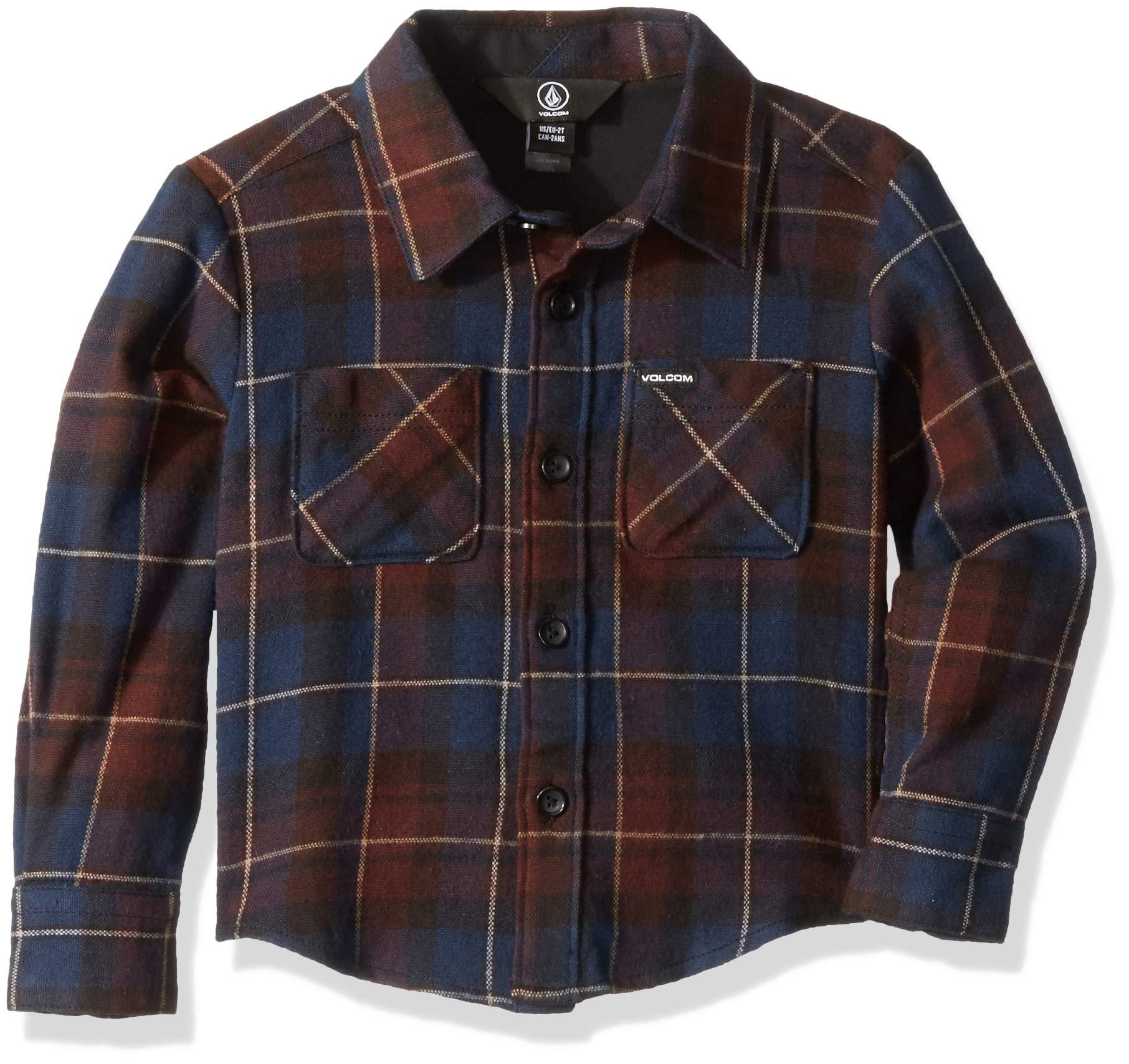 Volcom Little Boys' Lumberg Long Sleeve Flannel Button Up Shirt, MELINDIGO, 2T