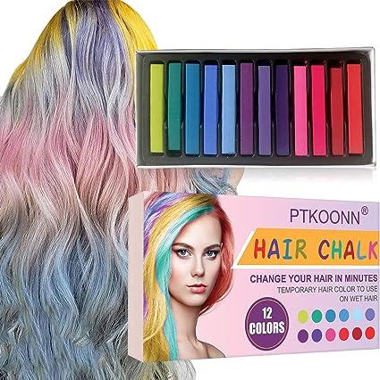 Tiza de Pelo, Cabello Tiza, Tiza para el Cabello, Coloración temporal Cabello, Hair Chalk Set, 12 Colores Temporal Tiza de Pelo No Tóxicas Lavables ...
