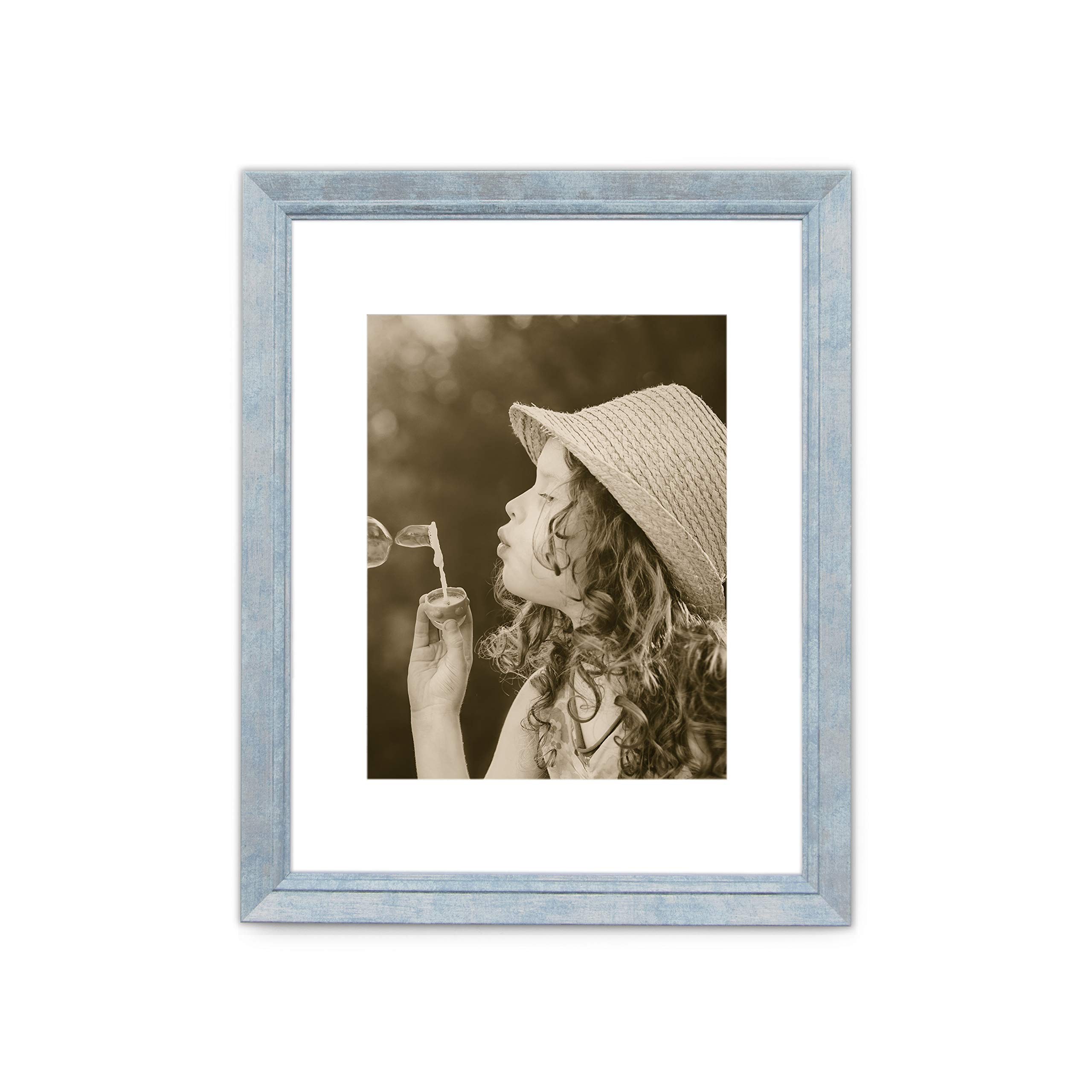 11x14 Picture Frame Distressed Blue - Made to Display Pictures 8x10 with Mat or 11x14 Without Mat - Frames by EcoHome