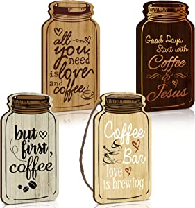 Jetec 4 Pieces Coffee Sign Rustic Wood Coffee Bar Decor Mason Jar Wall Hanging Plaque But First Coffee Wall Decor Sign Funny Mason Jar Wall Art Signs for Country Home Coffee Bar Decor