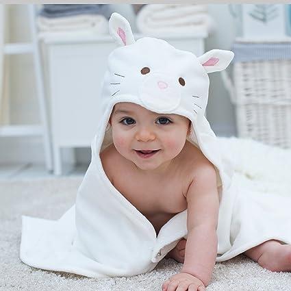 Baño – Cojín de gato bebé toalla con capucha, diseño de conejos