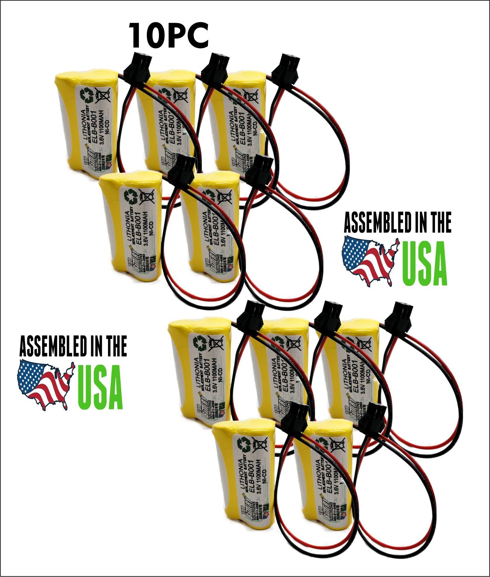 10PC Lithonia ELB-B001,ELBB001 Replacement Emergency Light Battery