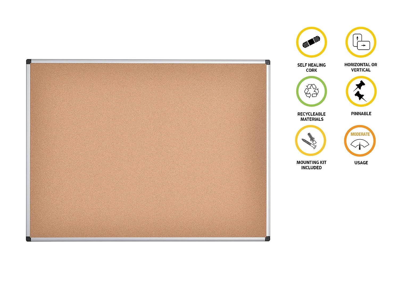 Bi-Office Maya Cork Notice Board Aluminium Frame 120x90cm: Amazon.co.uk:  Office Products