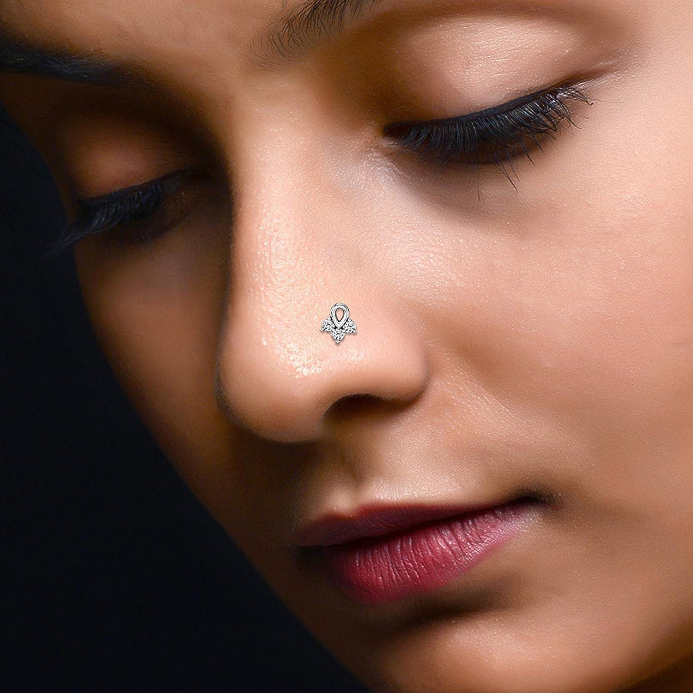 Diamond Scotch 0.35 Ct Round Cut White Cubic Zirconia Three Stone Women's Nose Pin 14K White Gold Over Body Piercing Jewelry SDNP20-WG
