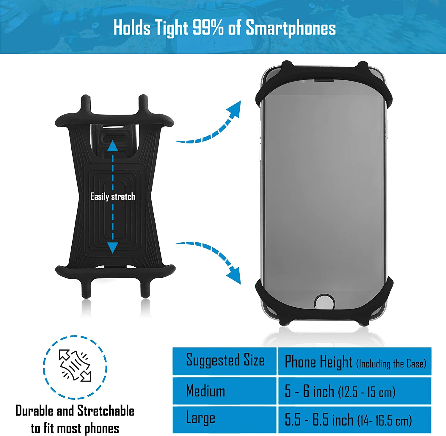 Samsung Series and MORE 6 7 Mobile Cellphone Holder // Universal Cradle for All Bicycle Handlebars and 99/% of Smartphones: iPhone 8 Premium Bike PHONE MOUNT Made of Durable Non-Slip Silicone 5