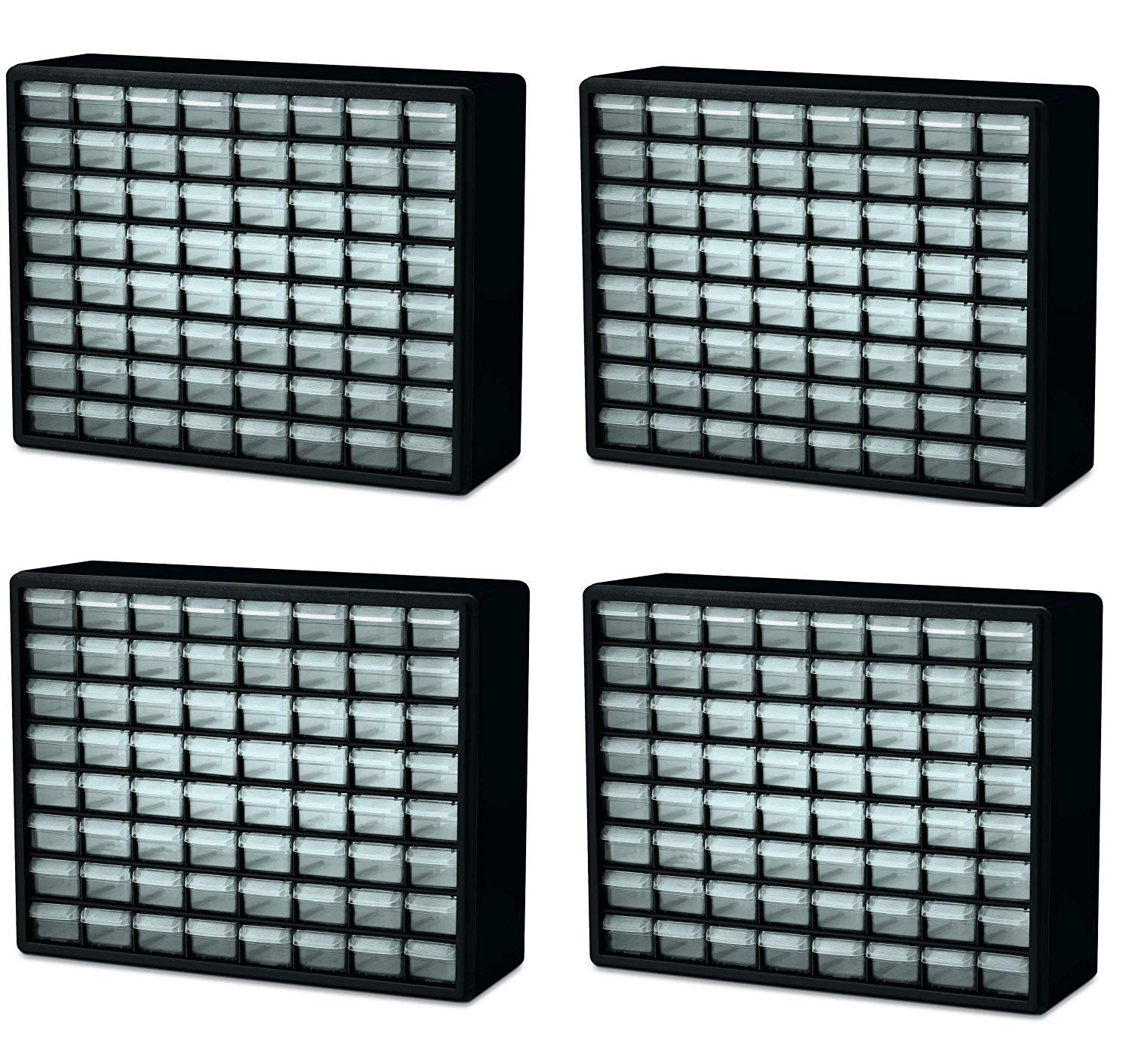 Akro-Mils 10164 64 Drawer Plastic Parts Storage Hardware and Craft Cabinet, 20-Inch by 16-Inch by 6-1/2-Inch, Black (Pack of 4)