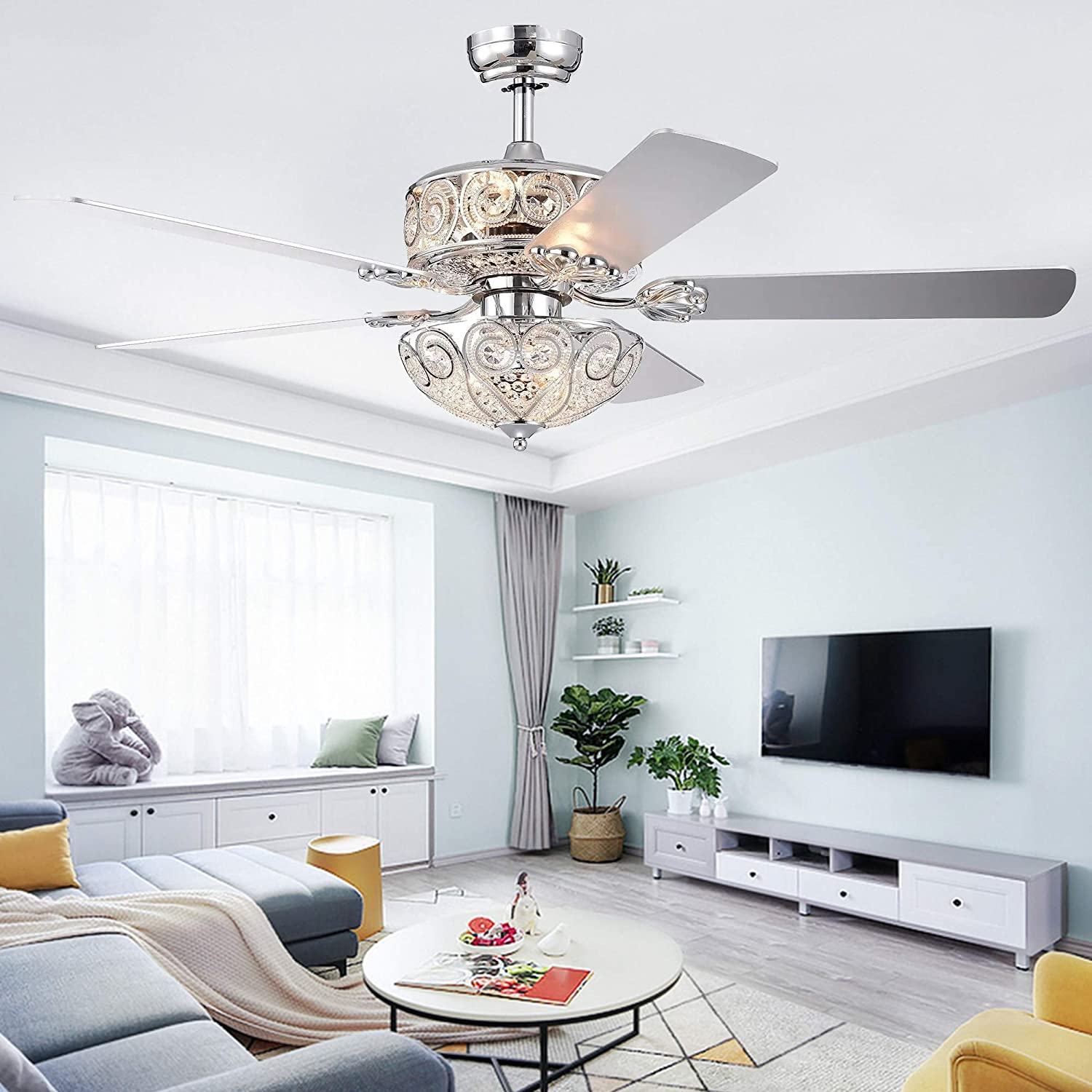 RainierLight Crystal Ceiling Fan Lamp LED Light for Bedroom/Living Room Hotel/Restaurant with 5 Wood Reversible Blades Remote Control 52 Inch
