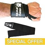 "BEAR GRIP - Premium Heavy Duty 24"" Weight Lifting Wrist Wraps, Bodybuilding, Crossfit, Powerlifting, StrongMan"