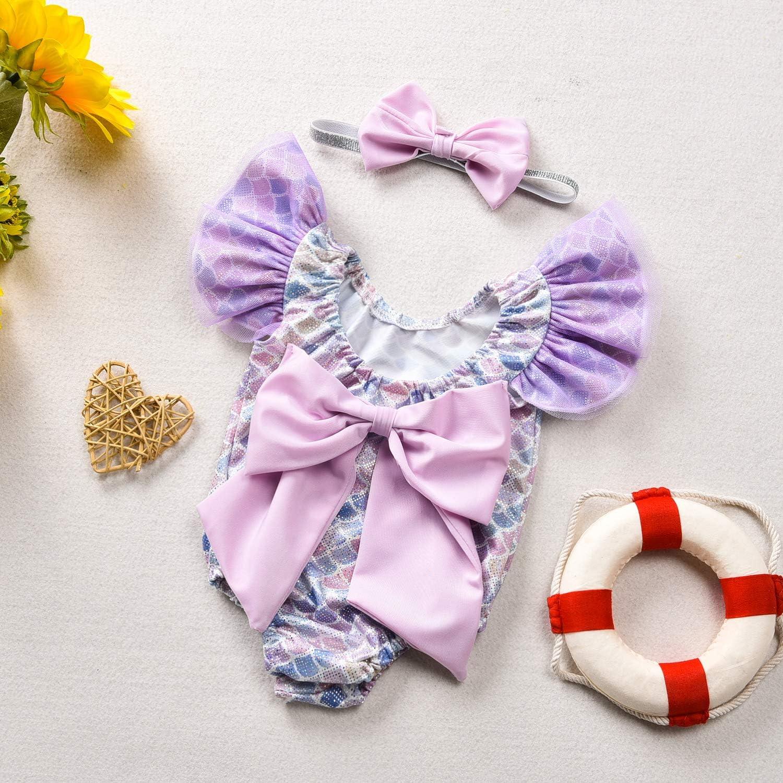 Toddler Girl Baby Ruffles Mermaid Fish Scale Swimsuit One Piece Swimwear Bathing Sunsuit
