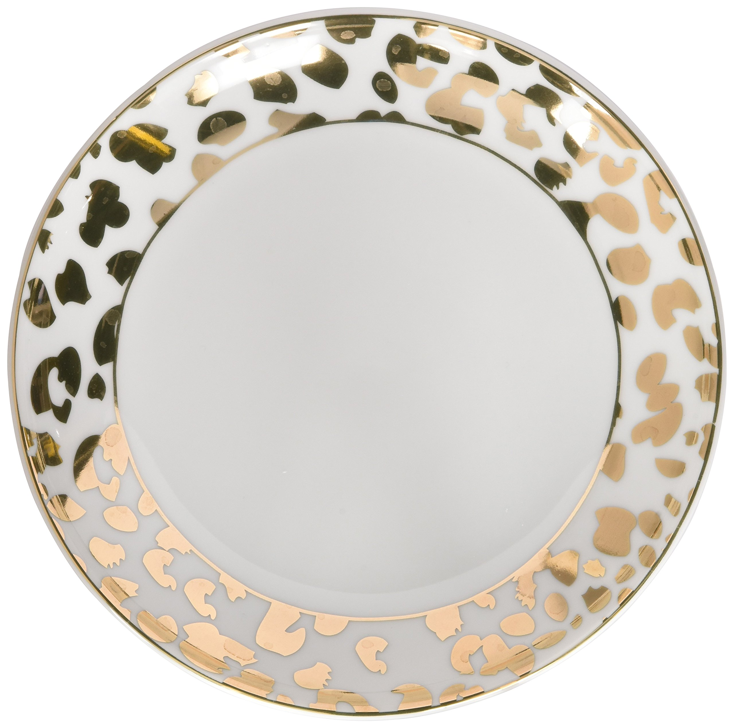 8 Oak Lane EC003LEP Leopard Print Porcelain Dessert Plate, 7'', Gold by 8 Oak Lane (Image #2)