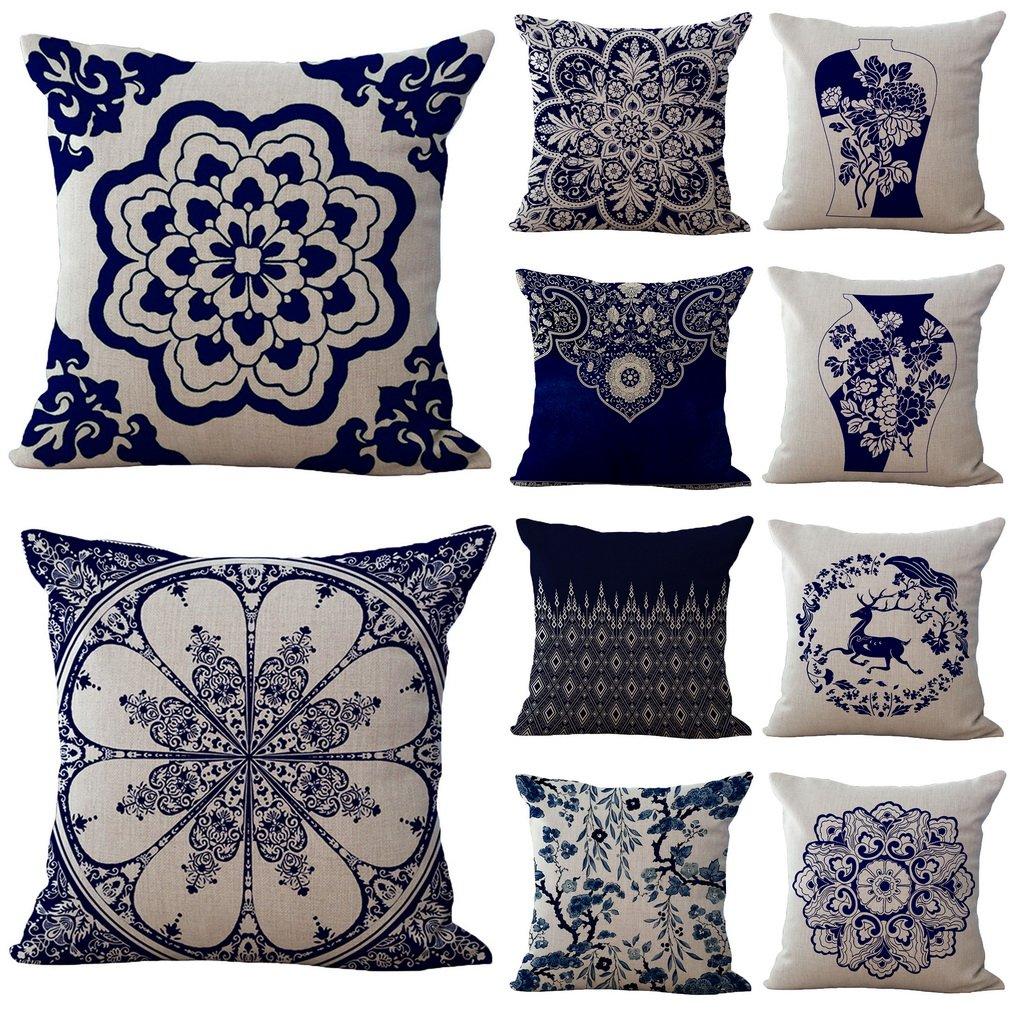 Bigood Chinese Blue and White Porcelain Pillow Case Pillow Cover Throw Cushion Case 45x45CM #B