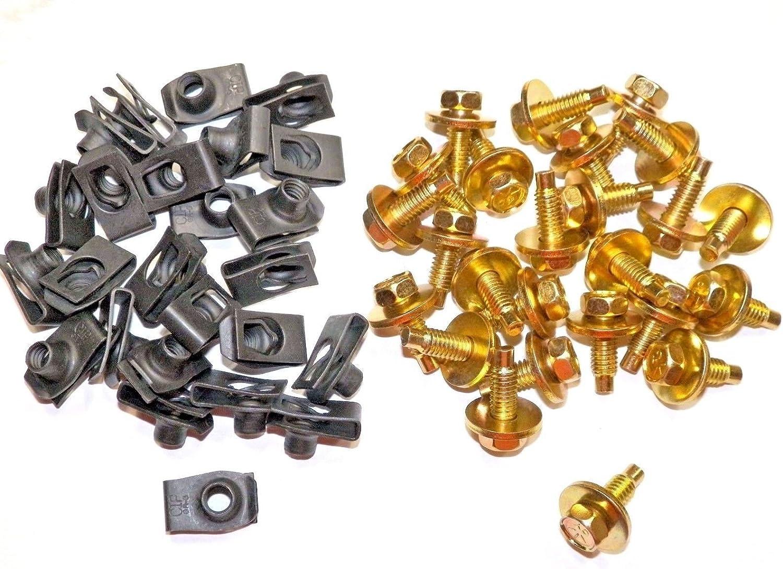 "Ford lincoln Mercury fender under hood bolts 1//4-20 x 15//16/"" yellow zinc 25 pcs"