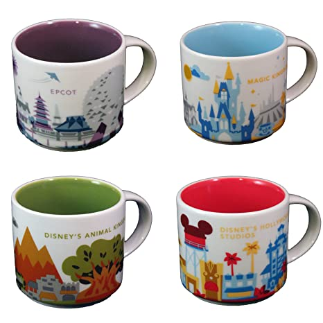 Starbucks Disney Parks Set Of 4 Mugs Epcot Magic Kingdom Hollywood Studios Version 1 Animal Kingdom You Are Here Collection By Disney